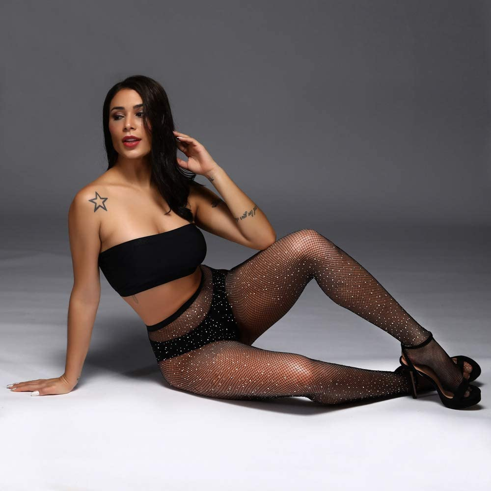 Lamdgbway Rhinestone Fishnet Stockings Crystal Net Tights Pantyhose for Women Party