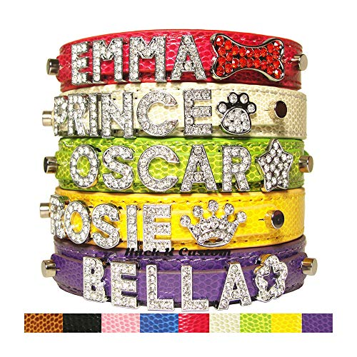 - CockerWoofWoof Personalized Snakeskin Pattern PU Leather Pet Dog Cat Collar with Rhinestone Buckle, Free Name (up to 6 Letters) & Charm (1 Free Charm) XS S M Extra Small Medium