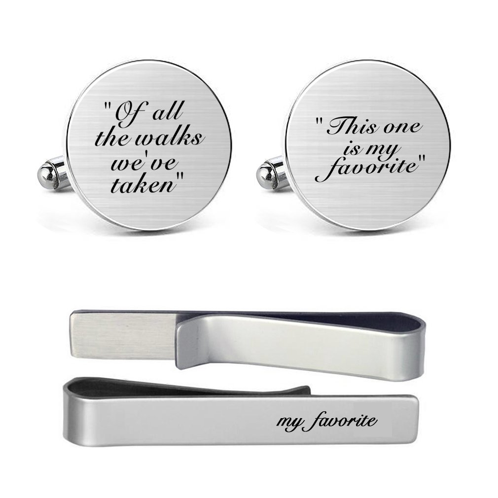 MUEEU Father Wedding Cufflinks Engraved of all the Walks We Have Take Round Cuff link Tie Clip Tacks