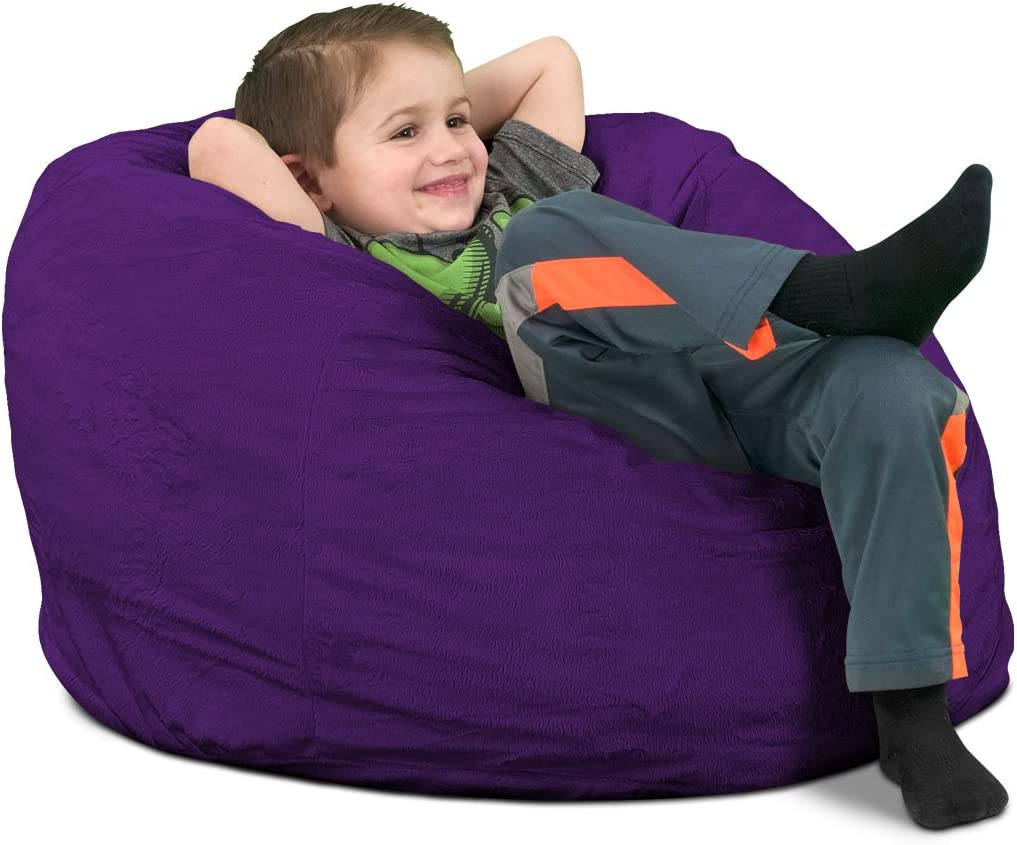 ULTIMATE SACK Bean Bag Chairs in Multiple Sizes and Colors: Giant Foam-Filled Furniture Durable Inner Liner. Machine Washable Covers Double Stitched Seams Kids Sack, Purple Suede