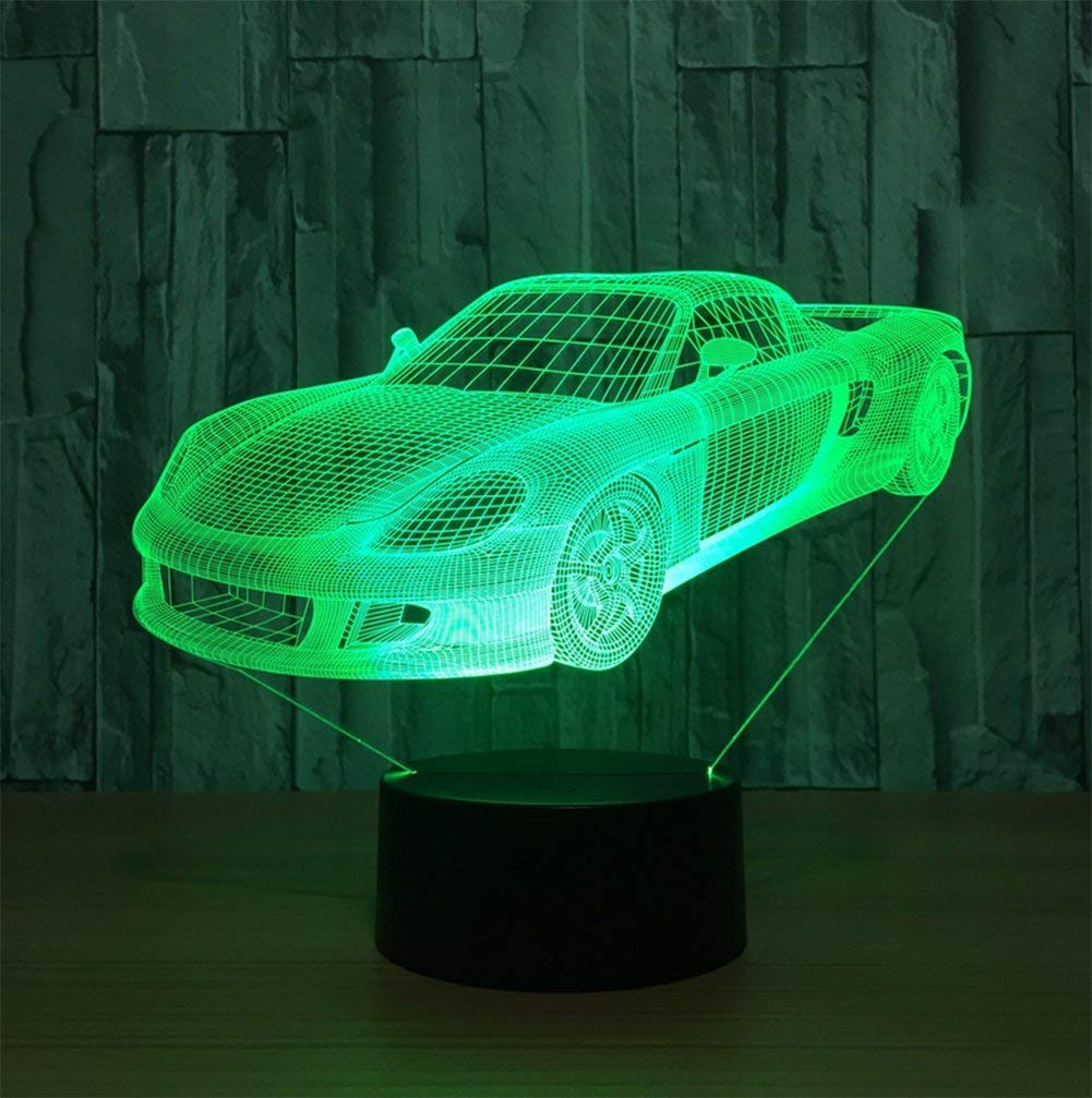 Novelty Lamp, 3D Child Car Optical Illusion Night Light USB Charging LED Lamp, Color Change 5 Color for Bedroom, Kids Room, Coffee Table, Christmas Decoration and Lover Gift,Ambient Light by LIX-XYD (Image #4)