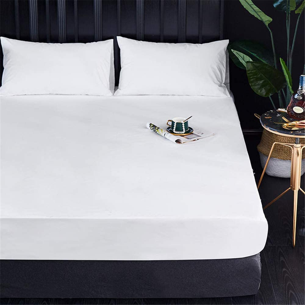 Waterproof Mattress Pad Breathable Bed Sheet White Sanding Mattress Protector Cover for Hotel Home Multiple Sizes Optional 99 * 190+36 99 * 190+36