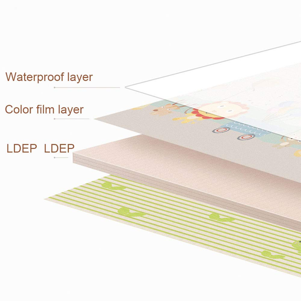 Extra Large 79 x 71 x 0.4 Inch Non-Slip Waterproof LDPE SUIE Baby Play Mat,Double-sided Foldable Baby Crawling Mat Toddler Kids Baby Care Tummy Time