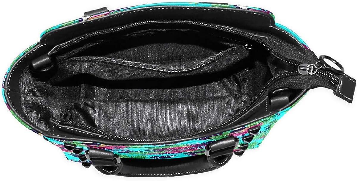 Blue Tropical Pineapple Flamingo Womens fashion Handbags Shoulder Bags Handle Satchel