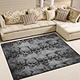 Naanle Sugar Skull Area Rug 5'x7′, Vintage Polyester Area Rug Mat for Living Dining Dorm Room Bedroom Home Decorative For Sale