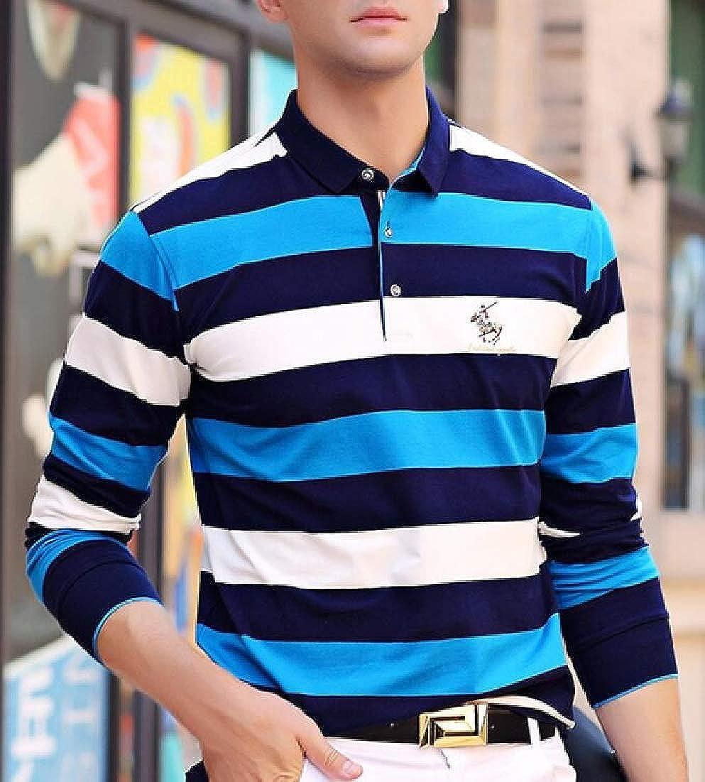 WSPLYSPJY Mens Fashion Cotton Sewn Stripe Long Sleeve Sports Polo Shirt