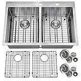 PRIMART PHT33DE Handmade 33'' Inch 16 Gauge Top mount 50/50 Double Bowls Statinless Steel Kitchen Sinks Drop in w/Bottom Grid Sink Strainer