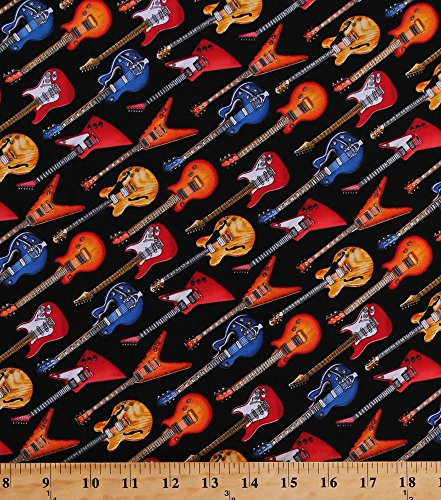 - Cotton Guitars Acoustic Guitars Electric Guitars Stringed Instruments Music Musical Musicians Guitarists Live Jazz Black Cotton Fabric Print by The Yard (145-BLACK)