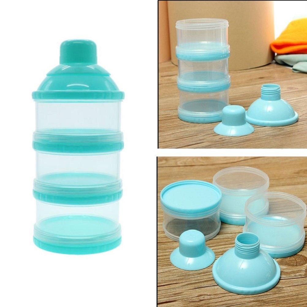 Kompassswc Milchpulverportionierer 3 Schicht Milchpulverspender Baby Säuglingsnahrung Milchpulver Box Anti Verschütten Reise tragbar Milchbox (Blau)