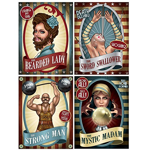 - Club Pack of 12 Vintage Circus Poster Cutouts Party Wall Decorations 15.25