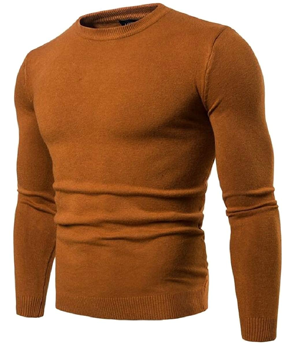 YIhujiuben Mens Knitted Sweater Casual Crewneck Solid Pullover Sweaters
