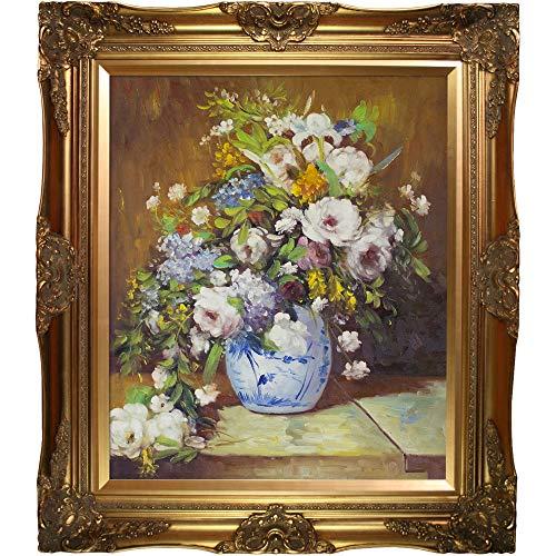 overstockArt Renoir Grande Vase Di Fiori with Victorian Gold Frame, Gold Finish