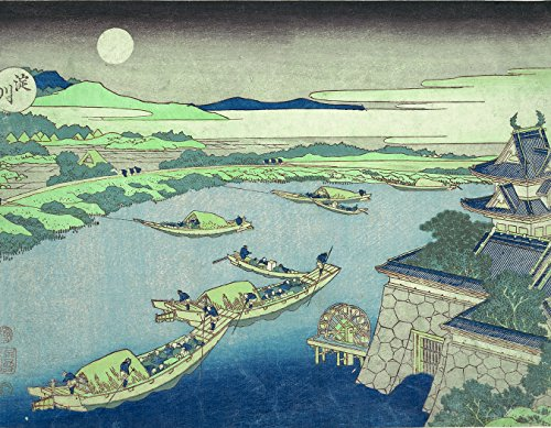 ArtVerse HOK061A1418A Japanese River in Moonlight in Blue with Green Accents Removable Art Decal 14