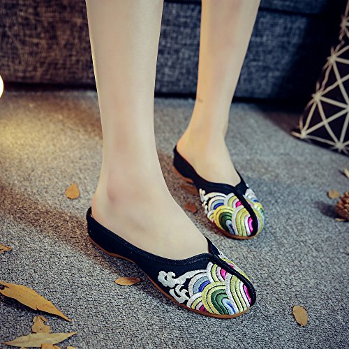 Household Qhome Chinese Heel Wave Black Canvas Style Sandals Print Low Slippers Womens 6fxqw6CR
