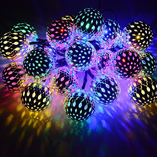 (Dephen Solar String Lights Moroccan Ball Multicolor 15ft 20LED Globe Fairy String Lights Solar Powered Orb Lantern Christmas Lighting for Outdoor Garden, Yard, Patio, Xmas Tree, Party, Home Decoration)