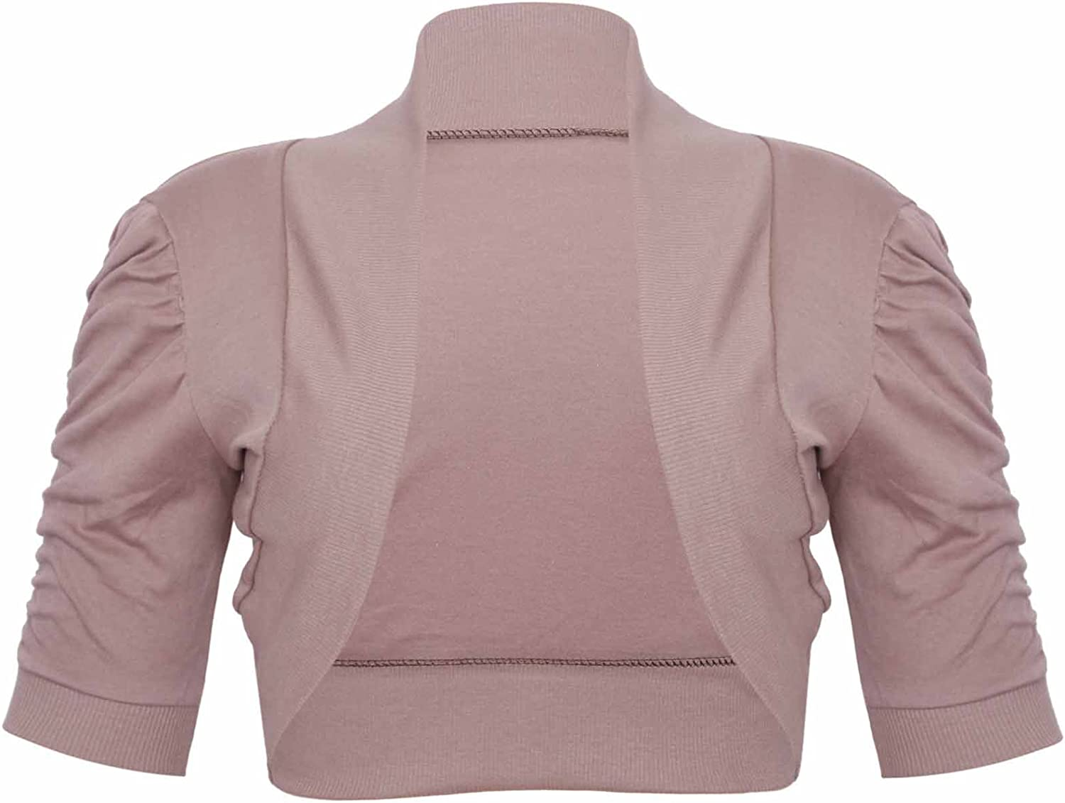 Womens Ribbed Ruched Gathered Short Sleeve Ladies Front Open Fit Cardigan Bolero Shrug Top