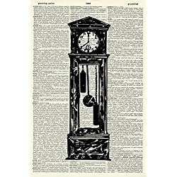 Grandfather Clock Art Print - Timepiece Art Print - Victorian Art Print - Vintage Art Print - Artwork - Vintage Dictionary Art Print - Book Art Print - Illustration - Picture 848D
