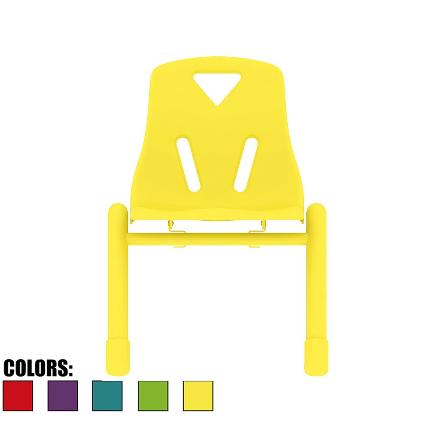 2xhome - Yellow - Kids Size Plastic Side Chair 12'' Seat Height Yellow Childs Chair Childrens Room School Chairs No Arm Arms Armless Molded Plastic Seat with Coated Metal Legs Stackable