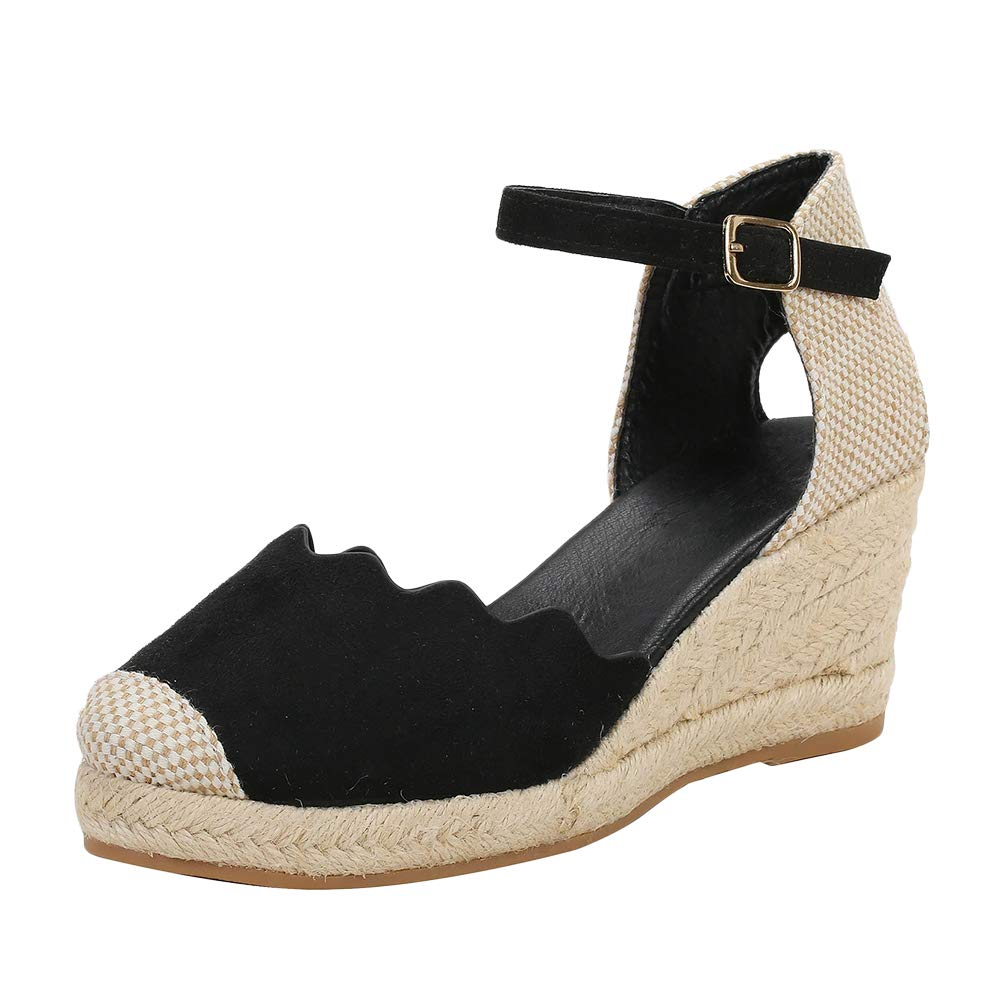 e49823485 LAICIGO Women's Wedges Platform Espadrilles Ankle Strap Cap Toe Faux Suede Open  Back Summer Sandals with Buckle