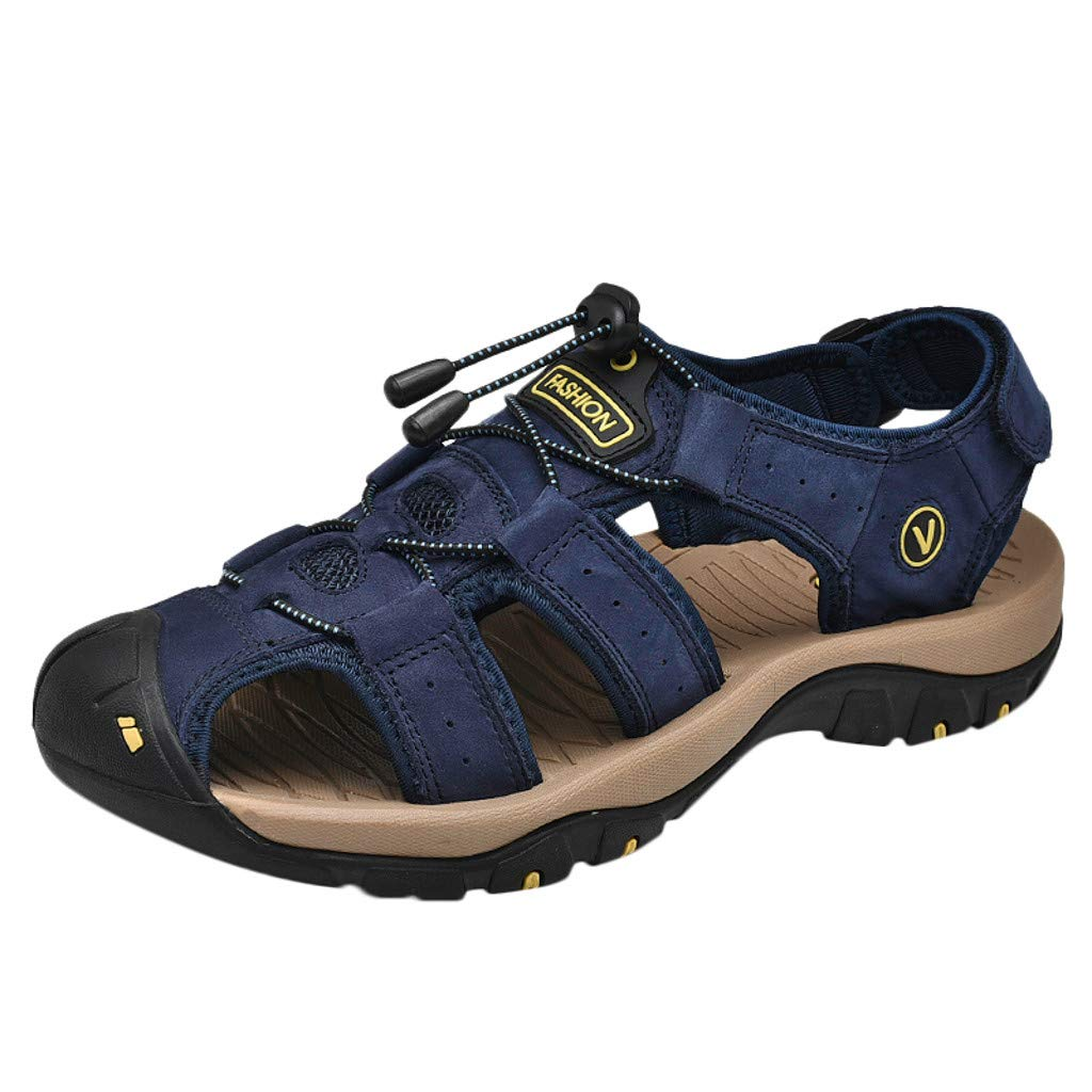 Corriee Mens Outdoor Beach Leather Sandals Breathable Athletic Shoes 2019 Most Wished Male Summer Sandal Blue