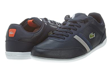3883c1d74507f3 Image Unavailable. Image not available for. Color  Lacoste Mens Giron Ava Dark  Blue Orange Low Top Fashion Sneakers
