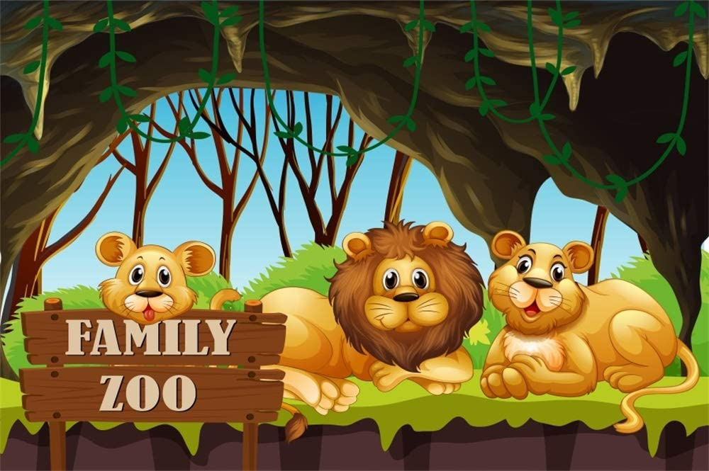 Amazon Com Aofoto 6x4ft Lion Family Zoo Backdrop Kid Little Boy Happy Birthday Party Background For Photos Child Baby Parties Events Decoration Bending Old Tree Photo Studio Props Vinyl Camera