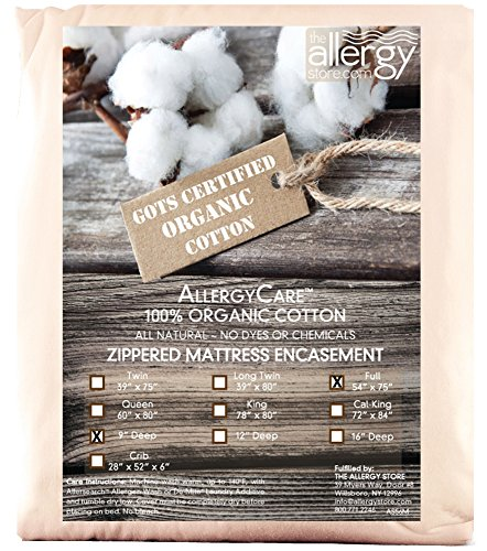 Organic Cover Certified Cotton (The Allergy Store Allergy Care Zippered GOTS Certified Organic Cotton Mattress Cover, 9