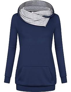 56033f997fa Miusey Women s Cowl Neck Casual Long Sleeve Hoodie Pullover Sweatshirt with  Kangaroo Pocket