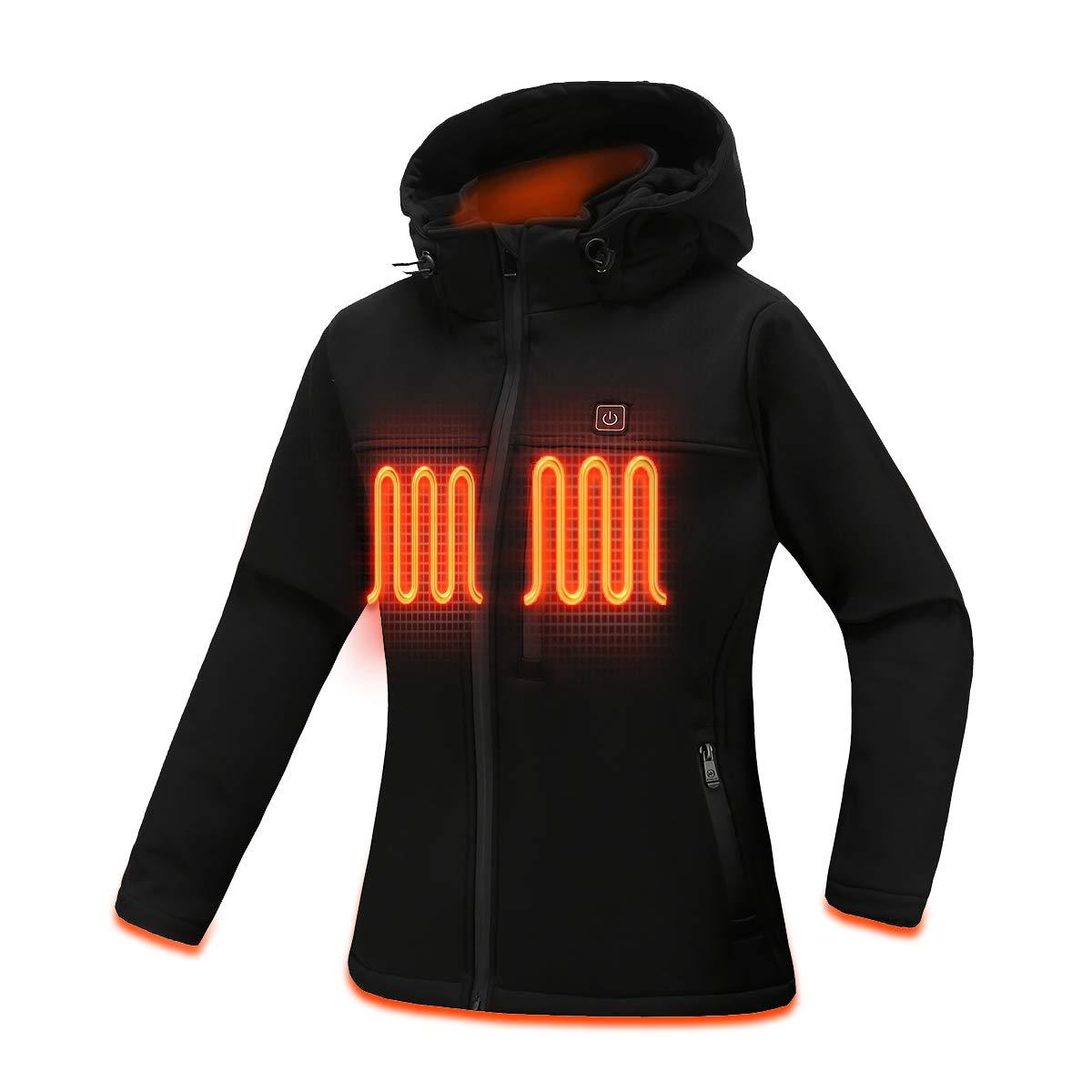 MYHEAT Women's Heated Jacket Soft Shell Eletric Heated Jacket with Detachable Hood and Battery Pack