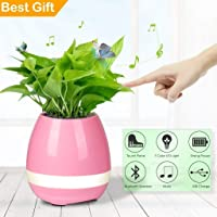 Jenny Sales Music Flowerpot,Smart Plant pots,Touch Music Plant Lamp with Rechargeable Wireless Bluetooth Speaker and LED Night Light (Without Plant) Colour May Vary