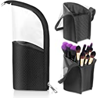 Makeup Brush Holder, Meigirlxy Travel Makeup Brush Organizer Case, Clear Plastic Cosmetic Zipper Pouch with Divider