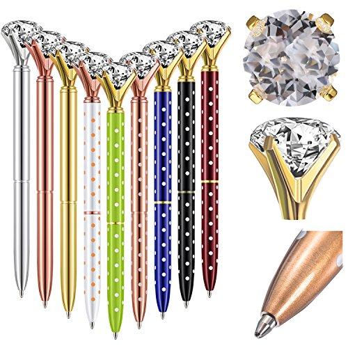 Bememo 12 Pieces Big Diamond Pen Rhinestones Crystal Metal Ballpoint Pens Black Ink (Multicolor) Photo #6