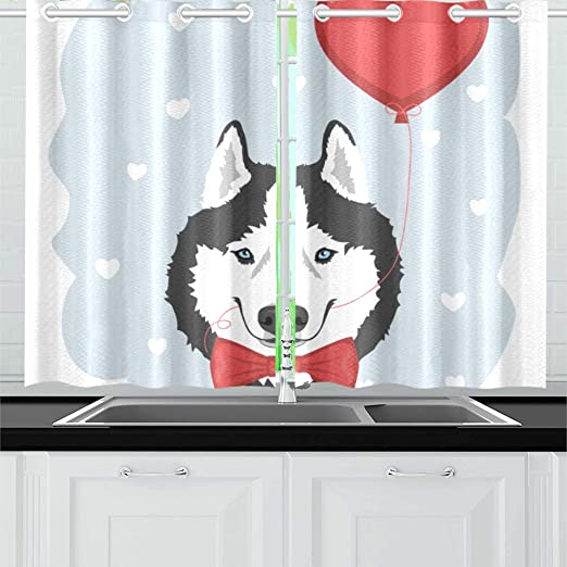 Amazon Com Kitchen Curtains Dog Red Bow Tie Heart Balloon Window Drapes 2 Panel Set For Kitchen Cafe Decor 52 X 39 Wayfair Kitchen Curtains Home Kitchen