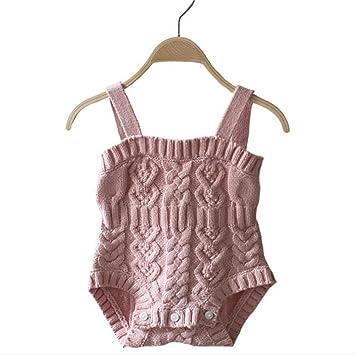 90e4b2e415043 ZooArts ベビー服 ロンパース 女の子 ニット セーター キャミソール 可愛い 無地 袖なし 新生児サイズ カバーオール ボディースーツ