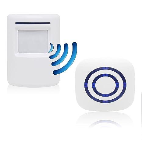 Alarma de seguridad, Domowin Timbre de Alarma Detector de presencia Portátil impermeable Avisador de Puerta 1 sensor & 1 receptor 38 melodías