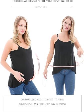 CareGabi Women/'s Sleeveless Maternity Nursing Tops Breastfeeding Tank Tops Round Neck Nursing Cami Maternity Clothes 3 Pack