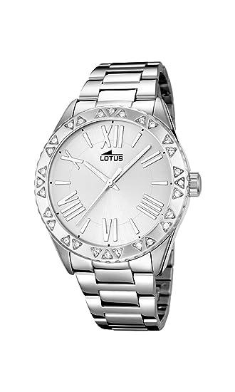 Lotus Reloj de Cuarzo para Mujer con Plata Esfera analógica Pantalla y Plata Pulsera de Acero