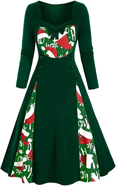 Vintage Short Sleeve Christmas 1950s Housewife Evening Party Prom Dress A-5 Hotkey Womens Dresses