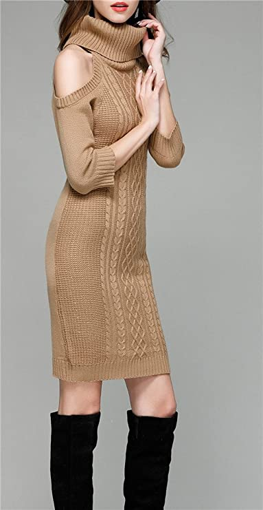 Cold Shoulder Sweater Dresses Half Sleeve Knitted Cute Sweater Dresses Women