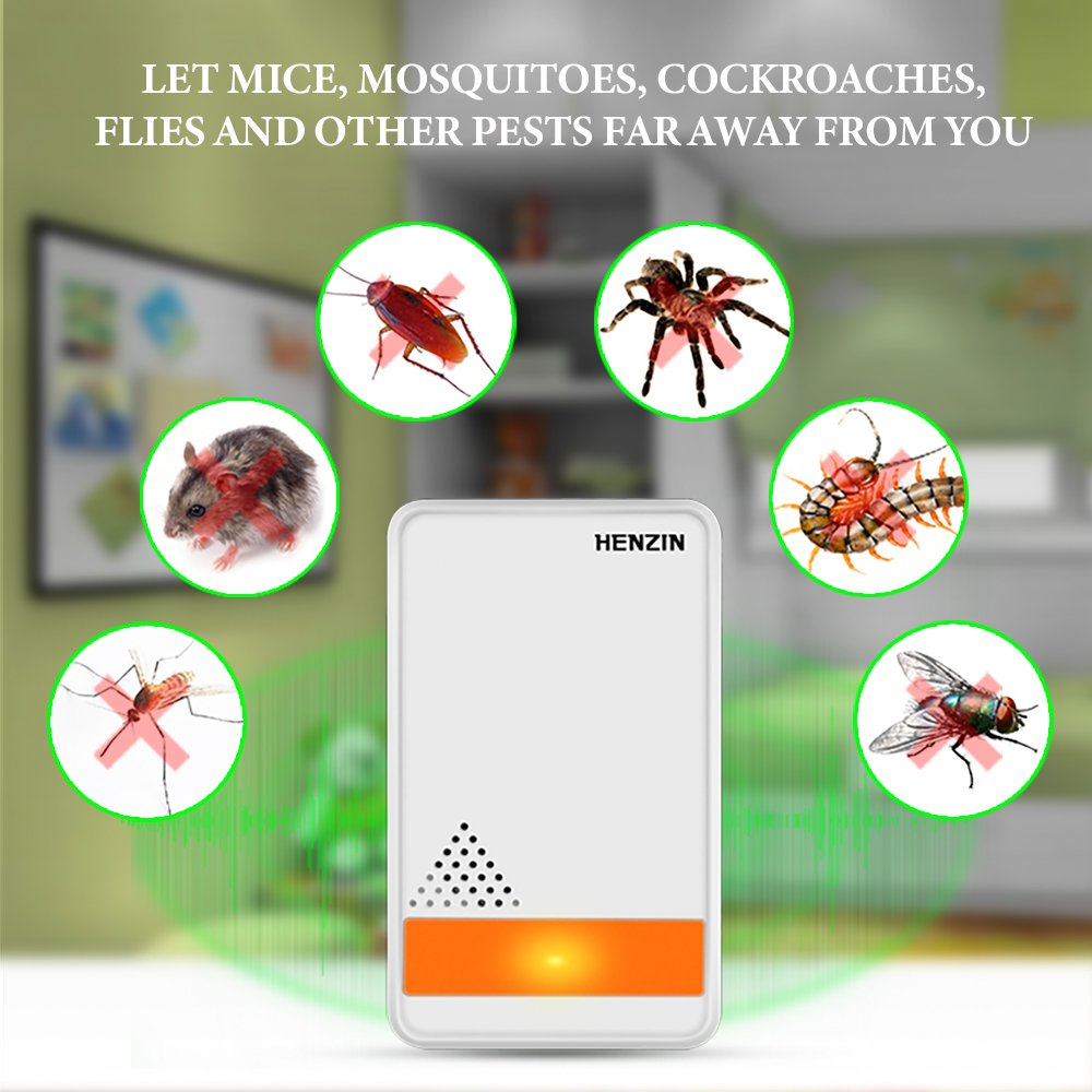 [2018 Upgrade] Ultrasonic Pest Repeller - Electronic Insect Control Repellent (Non-Toxic,Anti Insects, Bugs,Mouse,Mosquitos, Cocoroach,Spiders) - Human & Pets Safe (2-Pack)