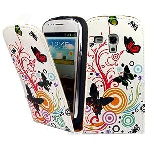 Samsung Galaxy S3 Mini i8190 Funda Caso - Blanco Mariposa PU Flip Funda Cuero Case Para Samsung Galaxy S3 Mini i8190 - thinkmobile