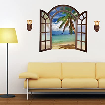 Amazon.com: 3D Fake Window Sea Coconut Tree Island Beach Wall ...