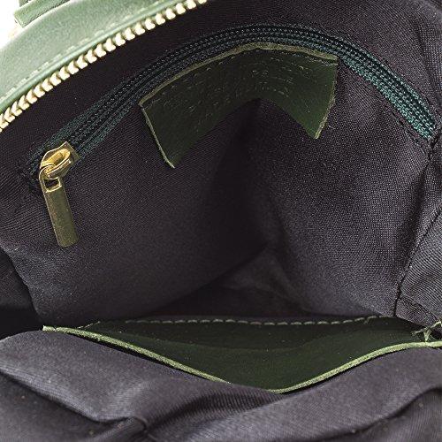 Mochila Made day Auténtica De 19x24x10 bolso mochila Pelle Vera Color Tacto Mujer Suave In Piel Oscuro Casual Italy Pack Savage Cm Firenze Genuino Italiana Artegiani Cuero Verde E86qBn8a
