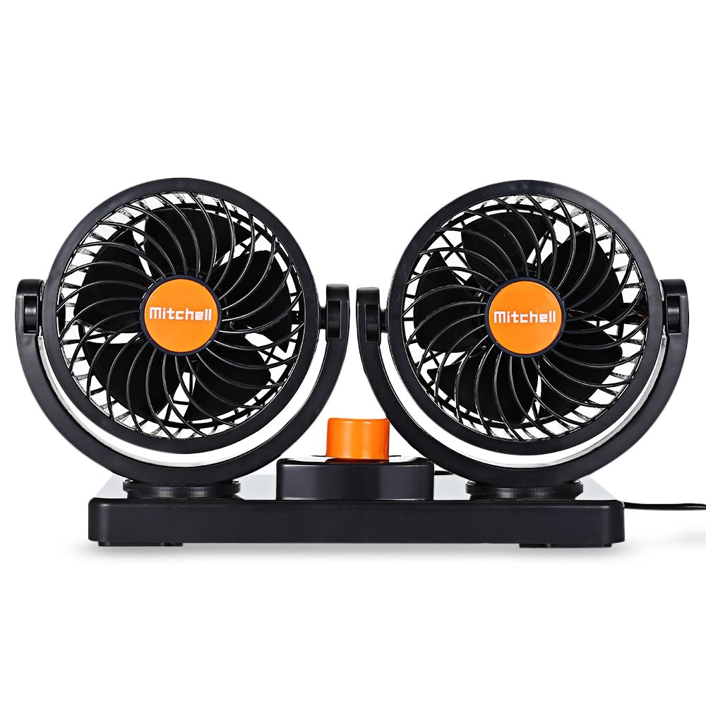 Xhope Mini Car Fans Vechicle Fan, 2 Gears 360 Degree Rotating Car Cooling Fan Air Conditioner Fan for Cars, Trucks, Buses, Off-road equipment, Boats and Other Recreational Vehicles (12V/8W)