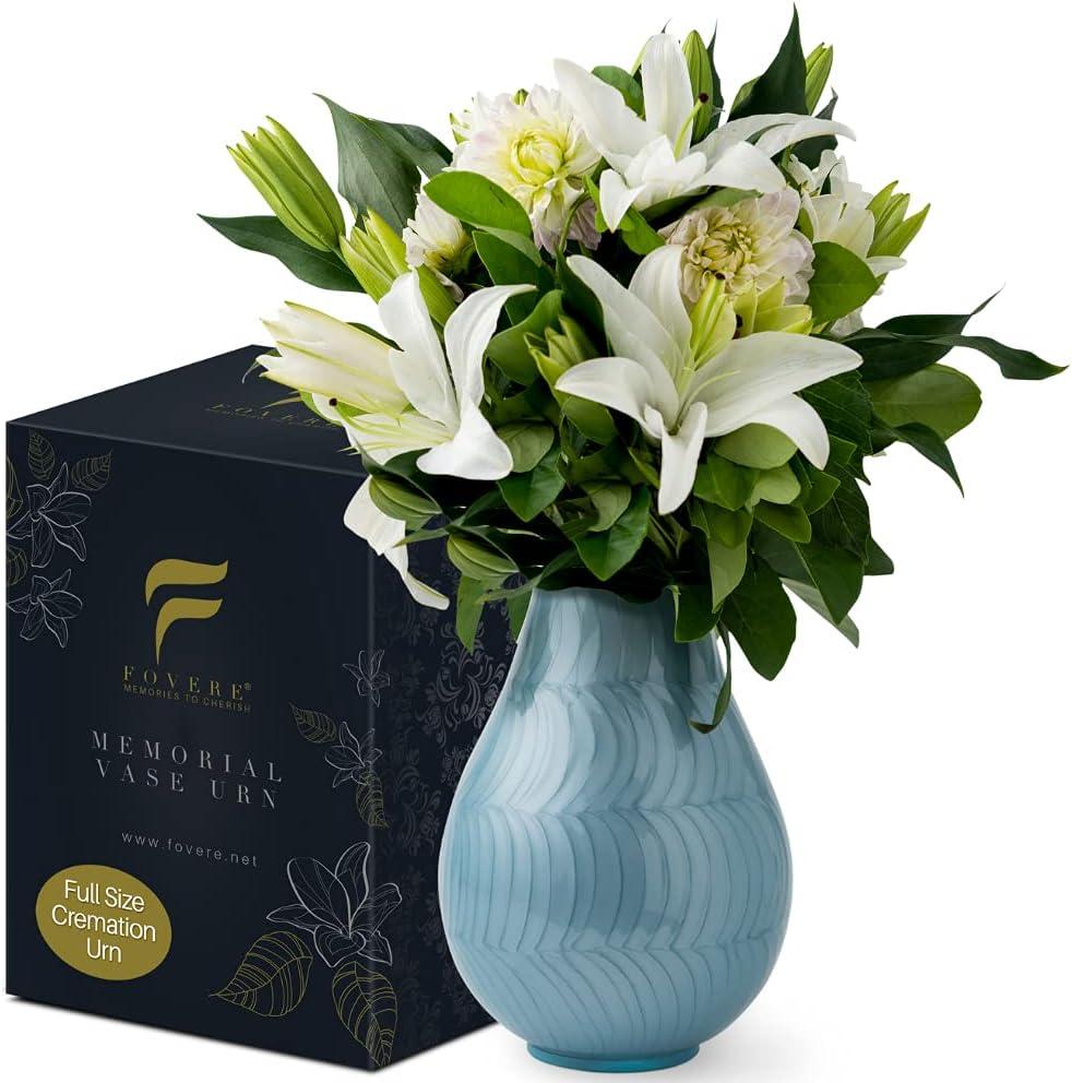 Memorial VASE URN: Large Cremation Urns for Human Ashes – Blue | Unique Design Funeral Urn for Display at Home | Beautiful Modern Flower Vase Ash Urn | Suitable for Adult, Child or Pet Ashes