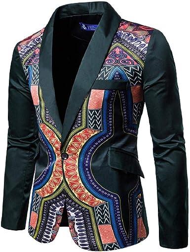 GreatFun Camisa nuevos Hombres africanos Moda Dashiki Cardigan Chaqueta Manga Larga Impresa Abrigo algodón Outwear Creativo Manga Larga botón Abajo Camisas Impresas Blusa: Amazon.es: Ropa y accesorios