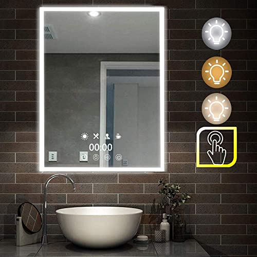AUPERTO 28 x 20 Time Clock Display LED Bathroom Vanity Mirror – Dimmable Wall Mount Mirror with Light Touch Button Vertical