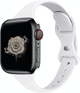STG Sport Band Compatible with Apple Watch 38mm 40mm 42mm 44mm, Soft Silicone Slim Thin Narrow Replacement Strap Compatible for iWatch SE Series 6/5/4/3/2/1 (White, 38/40mm)