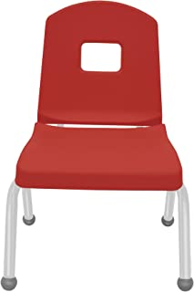 "product image for 12"" Creative Colors Split Bucket Chair in Red with Platinum Silver Frame and Ball Glide"