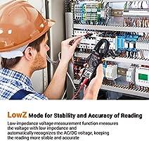 Tacklife cm02/a Pinza medidora digital resistencia y test de capacidad mult/ímetro con individuazione sin contacto de tensi/ón Corriente AC Voltaje AC//DC temperatura